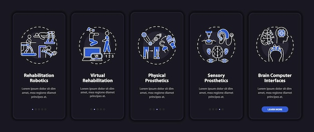Ondersteunende technologie onboarding mobiele app-paginascherm met concepten
