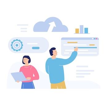 Ondersteuning en onderhoud van cloudsystemen. een man en een vrouw programmeren en beheren software.