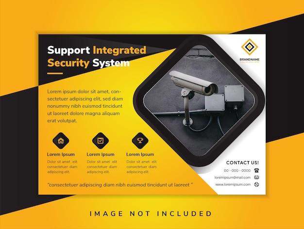 Ondersteuning geïntegreerd beveiligingssysteem bannerillustratie voor bedrijfstechnologie zwart-gele schaduwbanner donkere achtergrond gele belettering horizontale flyer header website vectorillustratie