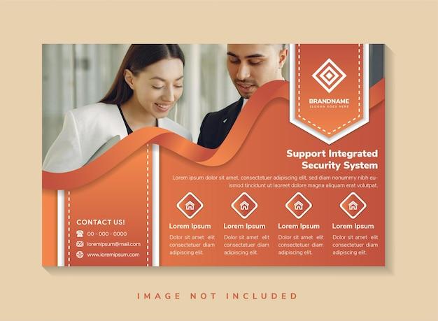 Ondersteuning geïntegreerd beveiligingssysteem flyer ontwerpsjabloon gebruik horizontale lay-out bruinoranje kleuren