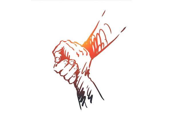 Ondersteuning, hulp, vriendschap, samen mensen concept. hand getrokken menselijke handen houden elkaar concept schets.