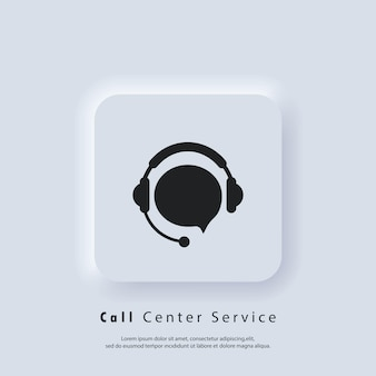 Ondersteuning icoon. servicepictogram voor callcenter. ondersteuning met tekstballon. hoofdtelefoon logo. vector eps 10. ui-pictogram. neumorphic ui ux witte gebruikersinterface webknop. neumorfisme