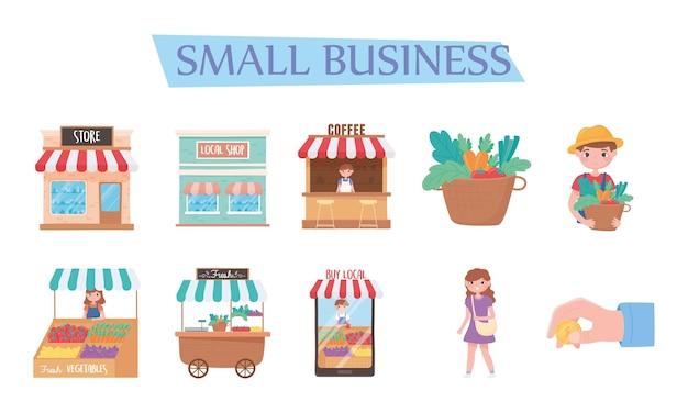 Ondersteuning van lokale bedrijven, pictogrammen kopen bij lokale winkels marketing illustratie