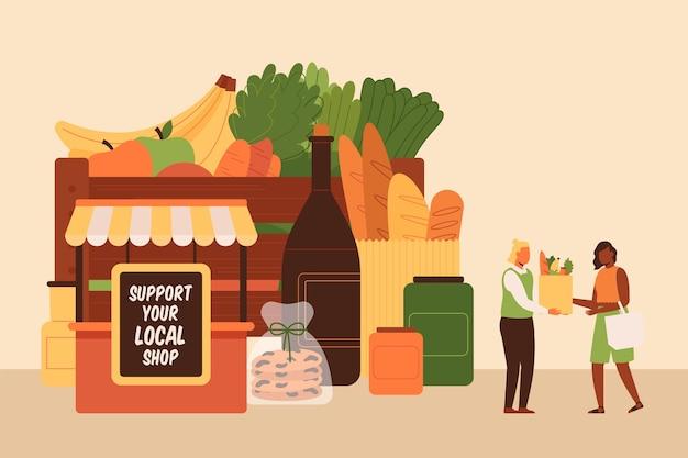 Ondersteuning van lokale business illustratie concept