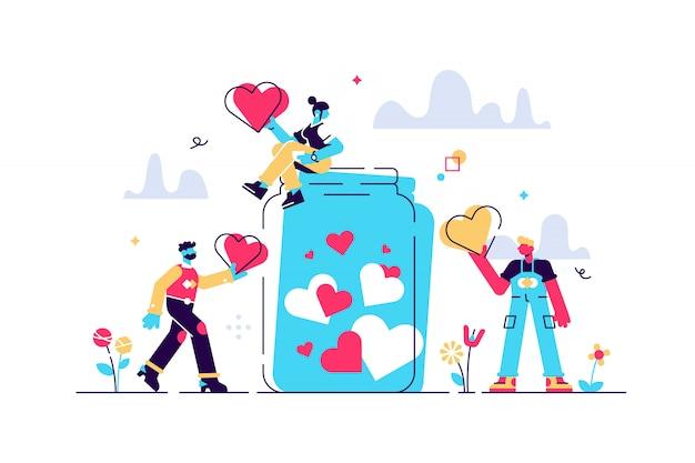 Ondersteuningsconcept, platte kleine vrijwilligers illustratie. donatie pot verzamelen hartsymbolen met een gevende hand. liefdadigheidscampagne voor sociaal bewustzijn. vrijgevige gemeenschapsmensen kunst.