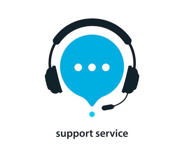 Ondersteuningsservice met koptelefoon. pictogram voor klantenondersteuning. overleg, telemarketing, adviseur, secretaresse