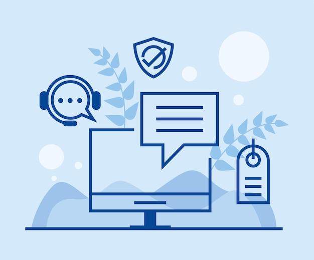 Ondersteuningsservice op desktop