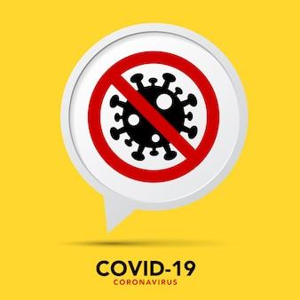 Onderteken voorzichtig coronavirus. stop de coronavirusbanner.