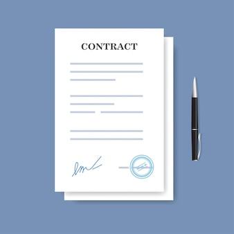 Ondertekend contract papiercontract. overeenkomst en pen op de blauwe achtergrond wordt geïsoleerd die.
