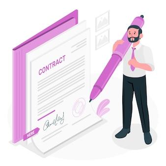 Ondertekening van een contract concept illustratie