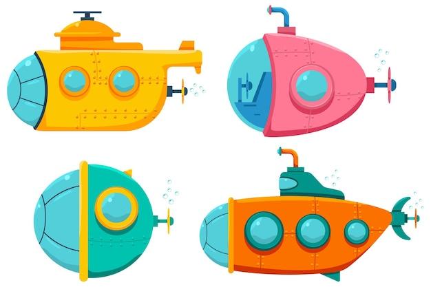Onderwater boot, schip en onderzeeër tekenfilm set geïsoleerd op een witte achtergrond.