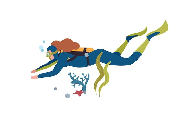 Onderwater duiken vlakke afbeelding