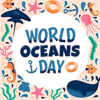 Onderwater en strand leven wereld oceanen dag