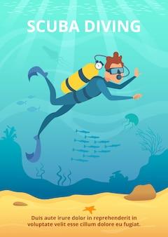Onderwater foto met cartoon duiker