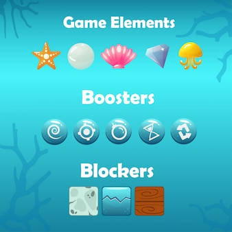 Onderwater game-elementen, boosters en blockers