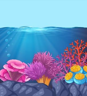 Onderwater oceaan koraal scène