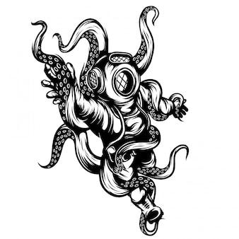 Onderwater octopus zwart-wit illustation