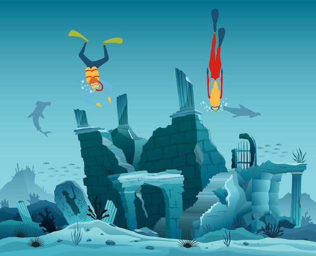 Onderwater ruïnes van de oude stad. duiker ontdekkingsreizigers en rif onderwater dieren in het wild. silhouet van koraalrif met vissen en scuba-duiker op de achtergrond van een blauwe zee. onderwater mariene dieren in het wild.