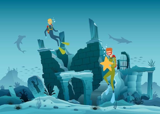 Onderwater ruïnes van de oude stad. duiker ontdekkingsreizigers en rif onderwater dieren in het wild.