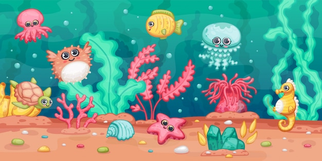 Onderwater scène met zeedieren en planten, cartoon kawai illustratie.