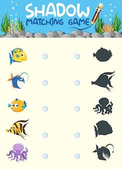 Onderwater schaduw matching game sjabloon