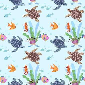Onderwater schattig schildpad en vis naadloze patroon.