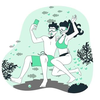Onderwater selfie concept illustratie
