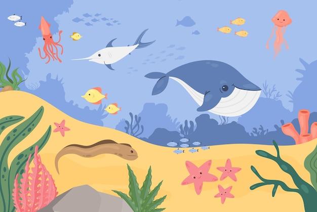 Onderwater zeelandschap zee oceaanbodem met vissen dieren schattige onderzeese dieren in het wild