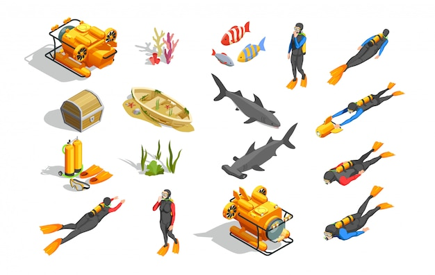 Onderwater zwemmen elementen collectie
