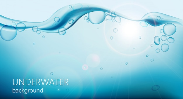 Onderwaterachtergrond met luchtbellen en golven bovenop