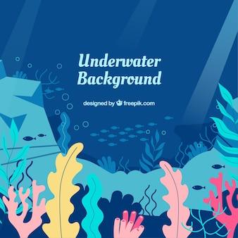 Onderwaterachtergrond met verschillende mariene soorten
