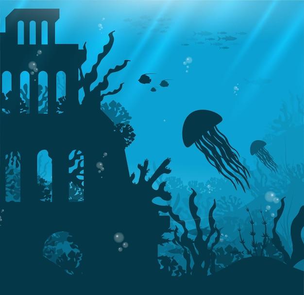 Onderwaterachtergrond met verschillende uitzichten op zee onderwaterscène schattige zeevissen oceaan onderwater