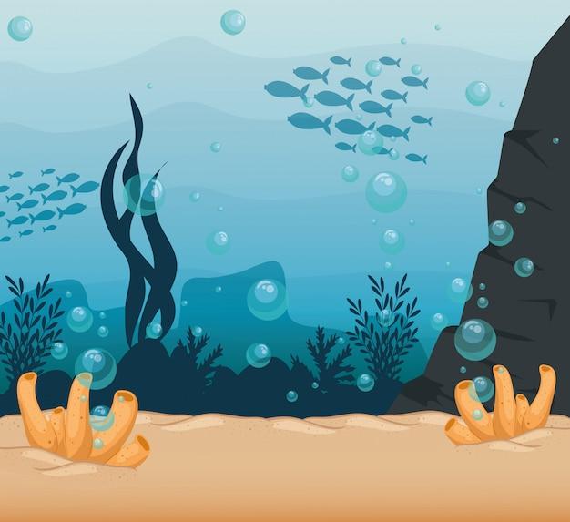 Onderwaterachtergrond, onderzeese ertsader, oceaan met mariene algenscène, habitat marien concept