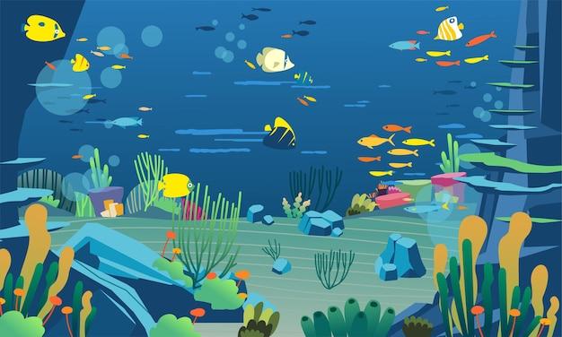 Onderwaterillustratie met verschillende dieren, zeeplanten en koraalriffen