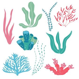Onderwaterplanten, zeeplanten en koralen, set voor stof, textiel, behang, kinderkamerinrichting, prints, kinderachtige achtergrond. vector