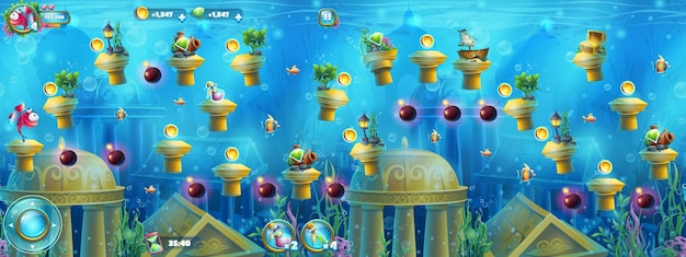 Onderwaterruïnes met een reeks elementen voor games Premium Vector