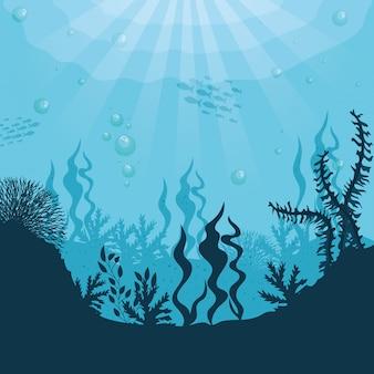 Onderwatersilhouetachtergrond, onderzees koraalrif, oceaanvissen en mariene algenscène, habitat marien concept