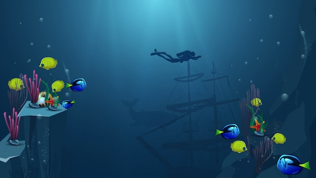 Onderwaterwereld, vectorillustratie met duiker