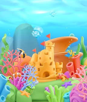 Onderwaterwereldlandschap in 3d