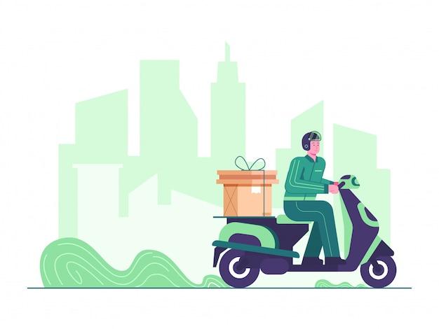 Onderweg levering concept illustratie