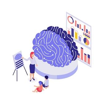 Onderwijs 3d concept met studenten die model gebruiken om de isometrische illustratie van het menselijk brein te bestuderen