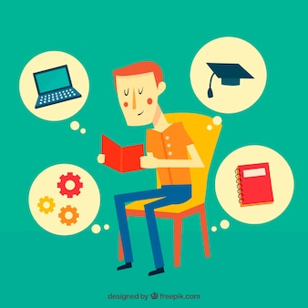 Onderwijs achtergrond met jongen lezen