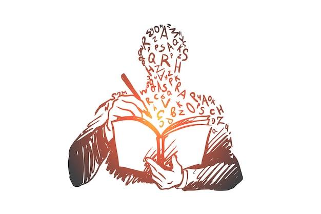 Onderwijs, boek, kennis, studie, universitair concept. hand getekende persoon leren met boek concept schets.