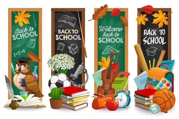 Onderwijs bord met terug naar school belettering