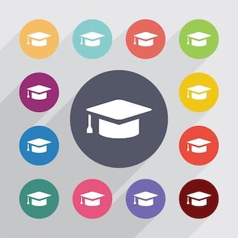 Onderwijs cirkel, plat pictogrammen instellen. ronde kleurrijke knopen. vector