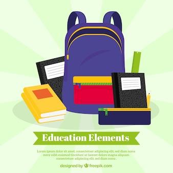Onderwijs concept achtergrond met blauwe tas