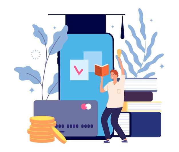 Onderwijs concept. graduate online cursussen, parttime leren. creatief studeren, jonge zakenman heeft ideeën vectorillustratie Premium Vector