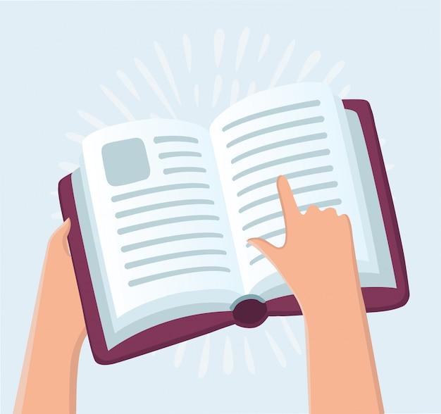 Onderwijs concept - handen met boek en pictogrammen in retro stijl