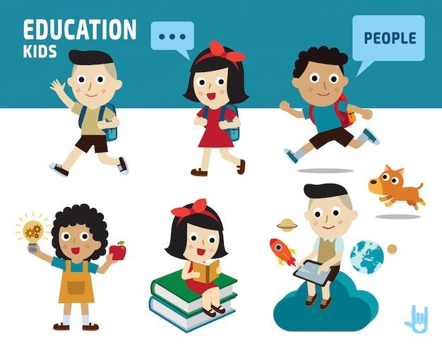 Onderwijs concept. kinderen divers van kostuum en actie vormt.