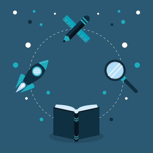 Onderwijs concept set pictogrammen rond